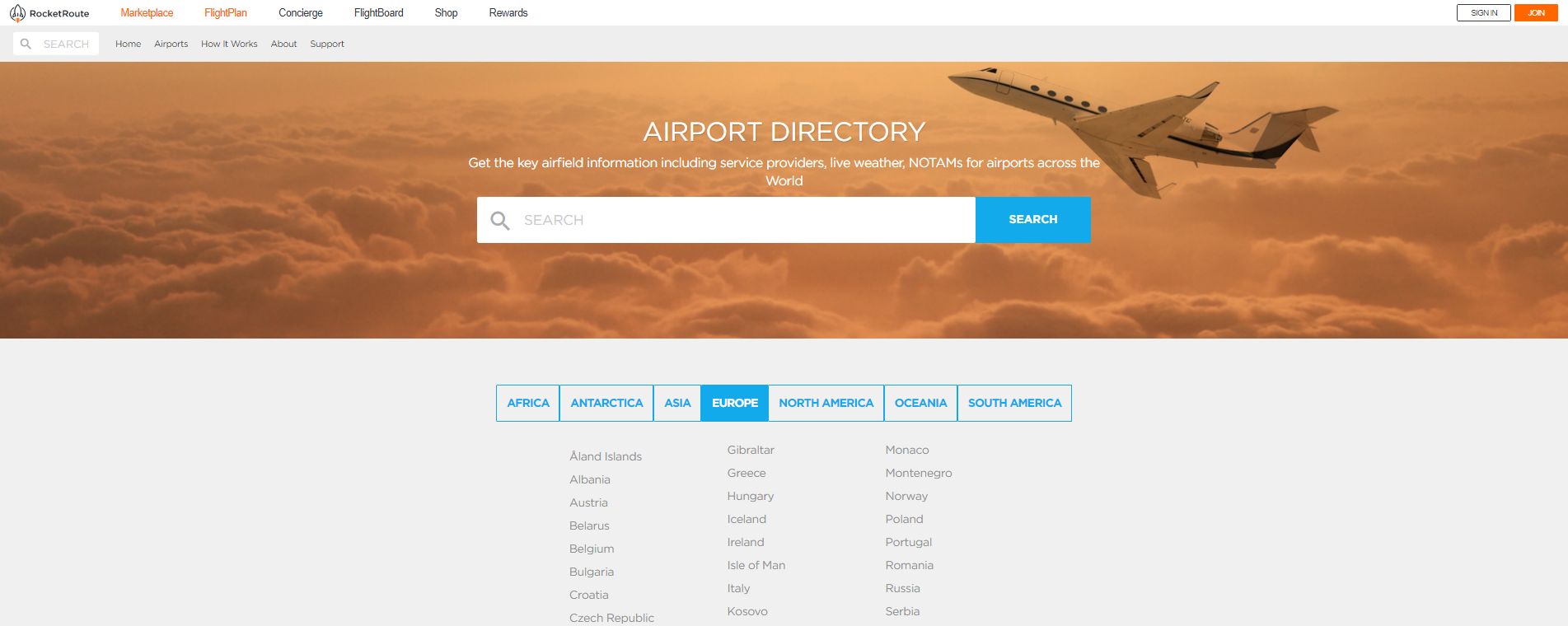 airport directory marketplace